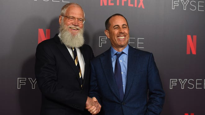 """David Letterman, left, and Jerry Seinfeld arrive at the """"My Next Guest Needs No Introduction with David Letterman"""" FYC event on May 7, 2018, in Los Angeles."""