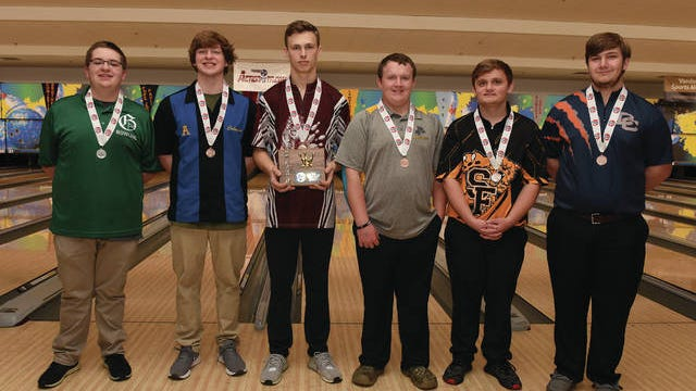 Santa Fe's Trevor Brady (second from right) placed fifth in the TSSAA Division I Boys Bowling State Tournament that concluded Friday at Smyrna Bowling Center. Pictured with Brady are (left) state runner-up Hunter Hardaway of Greenbrier; third-place finisher Coleman Bryant of Brentwood; state champion John Smith of Hardin County; Chuckey Doak's Lane Bolton; and Dickson County's Dusty Malone.