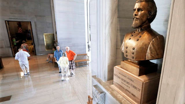 A bust of Nathan Bedford Forrest is displayed in the Tennessee State Capitol on Aug. 17, 2017 in Nashville.