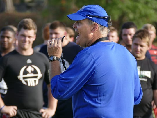 UWF head football coach Pete Shinnick addresses prep players at last year's UWF Friday Night Lights Football Camp. Argos are holding camps on Friday and Sunday night around the Blue Angels Air Show weekend.