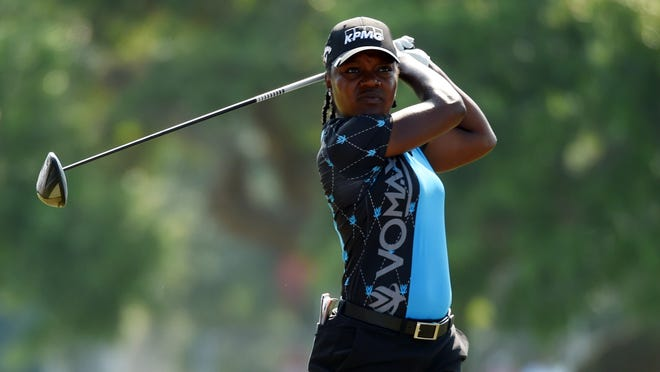 May 30, 2019; Charleston, SC, USA; Mariah Stackhouse tees off on the 12th hole during the first round of the U.S. Women's Open golf tournament at Country Club of Charleston. Mandatory Credit: John David Mercer-USA TODAY Sports