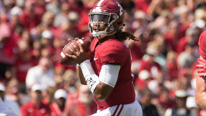 Alabama quarterback Jalen Hurts threw for 2,780 yards and 23 touchdowns and ran for 954 yards and 13 TDs last season.