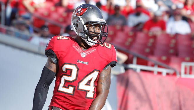 Tampa Bay Buccaneers cornerback Darrelle Revis (24) against the Atlanta Falcons during the second half at Raymond James Stadium.