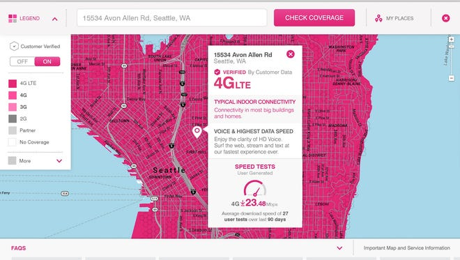 A T-Mobile coverage map in the Seattle area.