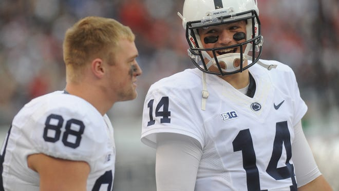 Penn State quarterback Christian Hackenberg tells tight end Mike Gesicki to run as far as he can and he'll chuck the ball to him.