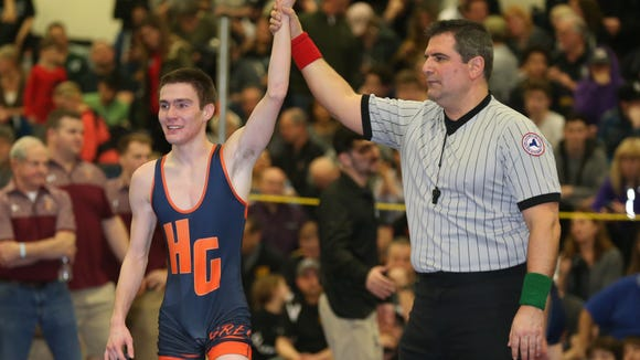 Horace Greeley's Matthew Schreiber, defeats Byram Hills' John Fortugno in the 99-pound match at the Section 1, Division 1 wrestling finals at Clarkstown High School South in West Nyack on Sunday, February 11, 2018.