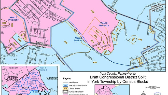 The York County Planning Commission created this map to help York Township voters see which district they are in.