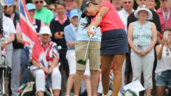 The USA's Sophia Schubert tee's off on the first hole during singles matches at the 40th Curtis Cup at Quaker Ridge Golf Club in Scarsdale on Sunday, June 10, 2018.