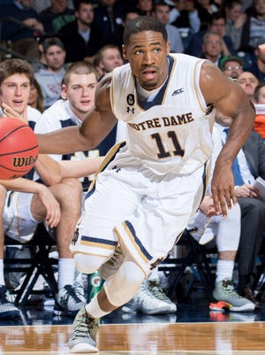 Notre Dame Fighting Irish guard Demetrius Jackson (11) drives to the basket in the second half against the Milwaukee Panthers at the Purcell Pavilion. Notre Dame won 86-78.