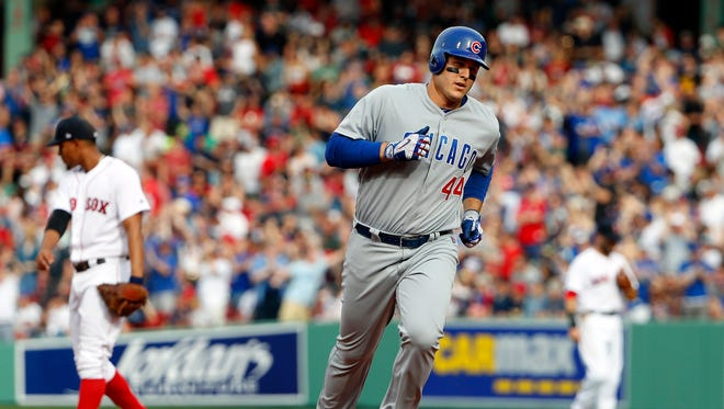Cubs first baseman Anthony Rizzo (44) rounds the bases after hitting a two run home run against the Boston Red Sox during the fourth inning at Fenway Park.