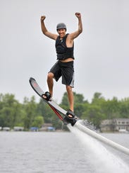 Flyboarder/hoverboarder Garrick Grace takes an Iron