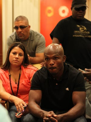 """WBO Light Welterweight Champion Timothy Bradley Jr. makes his """"grand entrance"""" at the MGM Grand as part of fight week in Las Vegas, Nevada to promote his fight against Manny Pacquiao.Omar Ornelas/ The Desert Sun"""