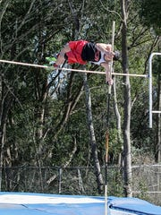 "Pensacola Christian Academy's Braden Porter clears 10'1"" in the high jump Saturday afternoon during the 2016 FCA Panhandle Track & Field Championships at Washington High School."