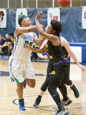 UWF's Toni Brewer (24), shown in earlier game this season, led the Argos Thursday night as they survived scare at Delta State.