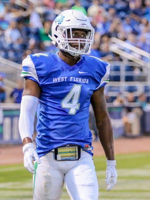 UWF defensive back Jalen Spencer (4), a Pensacola High School graduate, lines up against Valdosta State at Blue Wahoos Stadium on Saturday, Sept. 23, 2017.