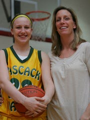 Sara Ely and her mother Laura, seen here in February 2008, were both coached by Jeff Jasper of Pascack Valley. Sara wears the same jersey number her mother did in high school.