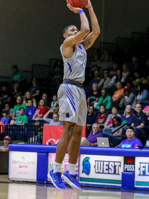 UWF's Marvin Jones (4) goes for a jump shot against Union University in the last regular season home game at the University of West Florida Field House on Saturday, Feb. 17, 2018.