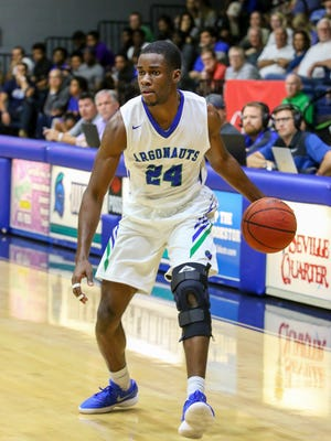UWF's DJ Thorpe (24) dribbles the ball against Montevallo during a Gulf South Conference Tournament game at the University of West Florida Field House on Tuesday, Feb. 27, 2018. Seeded number two, UWF beat #7 Montavello 83-74.