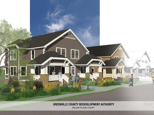A rendering of the Miller Place Court affordable housing development set for construction in Mauldin at the intersection of Miller and Old Mill Roads.