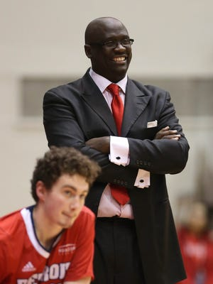 Detroit Mercy head coach Bacari Alexander on the sideline against Oakland during the second half Saturday, Jan. 20, 2018 at Calihan Hall in Detroit.