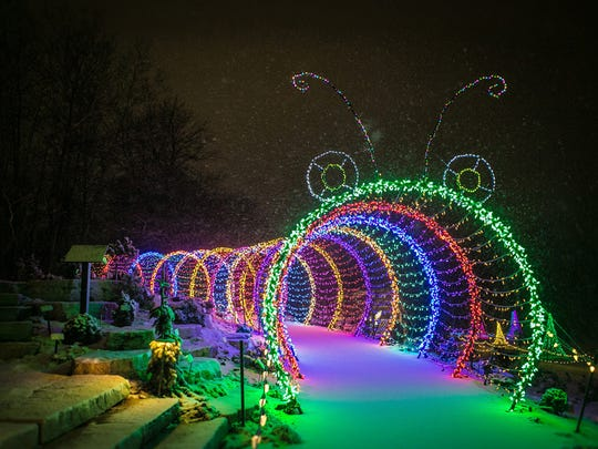 The Green Bay Botanical Gardens Garden of Lights features a giant caterpillar display.