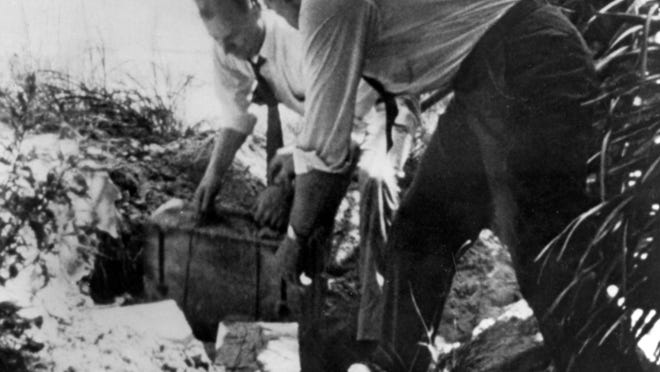 1942 - FBI agents uncover explosives on Ponte Vedra Beach in Florida in 1942. They were buried by German saboteurs who landed on the personal orders of Adolf Hitler during World War II.
