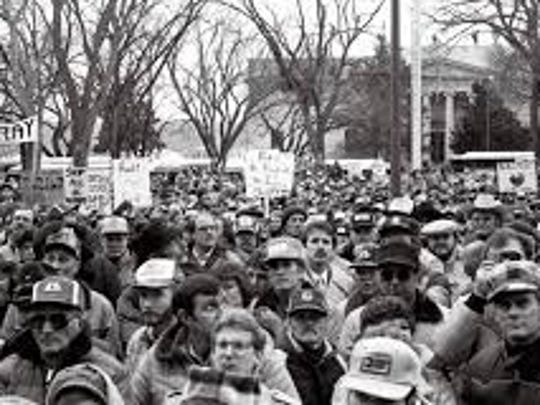 6,000 farmers rally in Pierre, South Dakota, Feb. 12, 1985. Political pressure led to passage of Conservation Reserve Program in Dec. 1985.