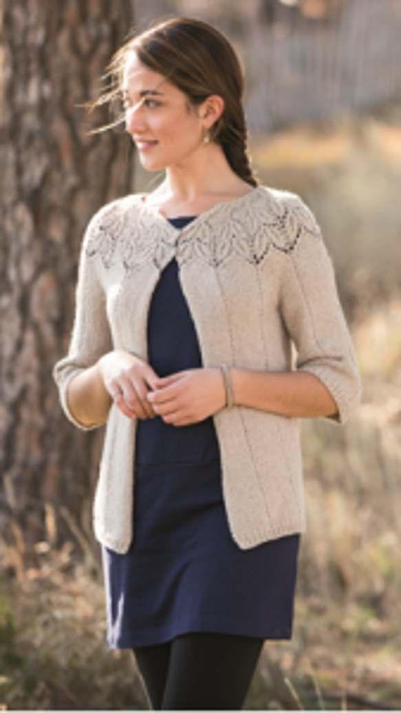 This Zephirine Cardigan by Angela Hahn is from the Spring 2014 Interweave Knits, which is available on the Interweave/F&W website.