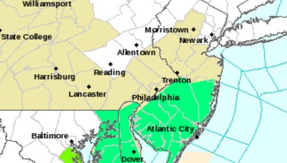 The green indicates a flood advisory due to heavy rainfall.