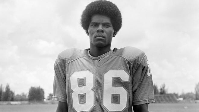 Marlin Briscoe, receiver for the Miami Dolphins, is pictured, Aug. 9, 1972. Briscoe made history when he was the first African-American player to start at QB in the NFL when he did so for the Broncos.