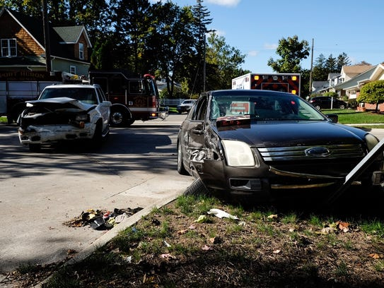 Two vehicles collided in the intersection of 16th and