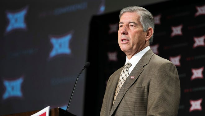 Big 12 commissioner Bob Bowlsby speaks to the media during the Big 12 Media Days on Monday in Dallas.