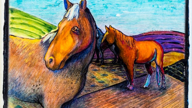 "Claudia Denneé of Deming created three works based on Mel Stone's ""Horses Coloring Book"" images, including these colorful horses."