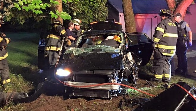 Firefighters had to free a man who drove his car into a tree on Scotland Hill Road in Chestnut Ridge on July 26, 2016. Ramapo police are investigating the crash.
