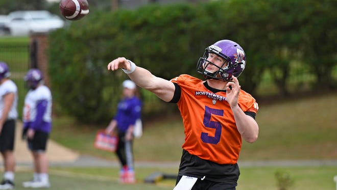 Northwestern State quarterback J.D. Almond throws a pass during spring practice.