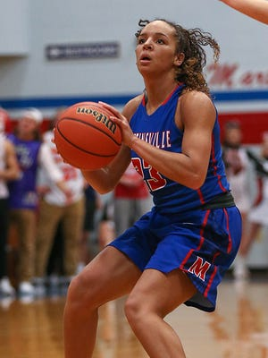 Martinsville Artesians Kayana Traylor (23) shoots during second half action at Martinsville High School in Martinsville, Ind., Wednesday, Feb. 1, 2017.