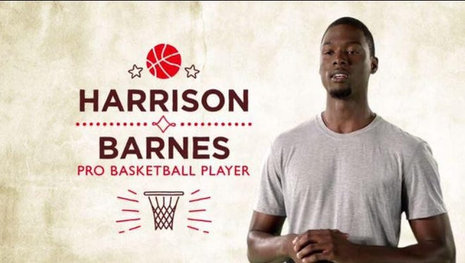 Golden State Warriors' Harrison Barnes is featured in new Hy-Vee commercial.
