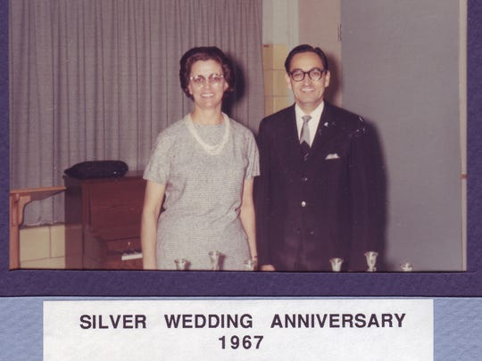 Doris and Scott Tatum on their Silver wedding anniversary in 1967.