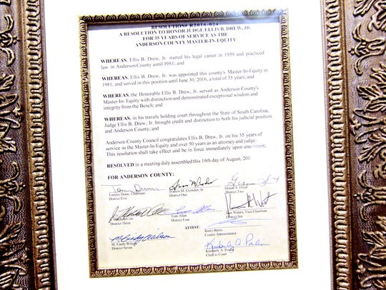 A proclamation by the Anderson County Council on August