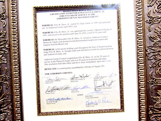 A proclamation by the Anderson County Council on August 16 to honor Judge Ellis Drew of Anderson.