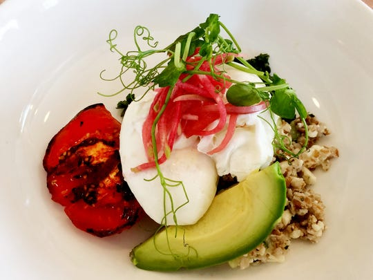 Cafe Roze: The Egg Bowl with poached eggs, cucumber-feta