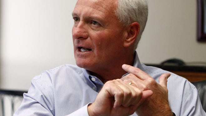 Jimmy Haslam, CEO of Pilot Flying J, speaking during a press conference in April at the company headquarters in Knoxville, Tenn. Pilot Flying J has agreed to a revised settlement with trucking companies cheated out of rebates between 2005 and 2013.