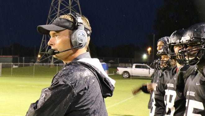 South Side head football coach Brian Moore looks on from the sidelines during the Hawks' game against Fayette-Ware on Aug. 26.