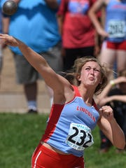 Lincoln's Izzy VanVeldhuizen competes in the shot put field event during the 2016 South Dakota State Track Meet at McEneaney Field on Friday, May 27, 2016.