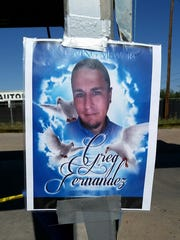 A memorial for Gregory Cleto Fernandez has been set up at the Valley Car Wash, where he was shot and killed Oct. 21.