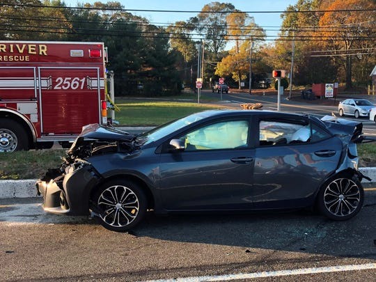 One man was hospitalized after a three-car, chain-reaction crash on Route 37 Monday.