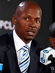 Ray Allen speaks at a news conference last month after