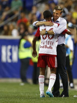 New York Red Bulls defender Tyler Adams is hugged by manager Jesse Marsch after scoring a goal against Chelsea FC in the International Champions Cup in Harrison N.J., on Wednesday.