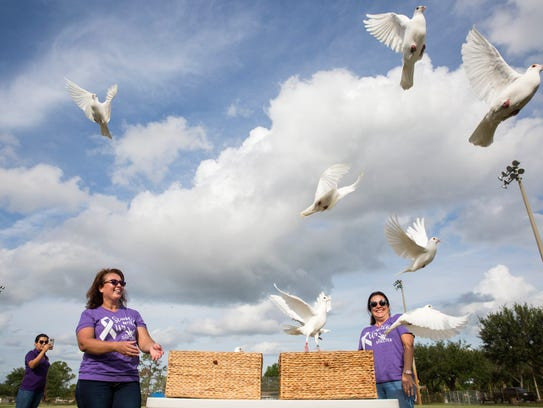 Doves are released at the Peace Fair at the Sports Complex in Immokalee on Monday, Oct. 23, 2017. The event, hosted by The Shelter  Naples, offered food, music and games for families while also raising awareness about domestic violence.