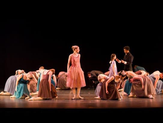 "A scene from Ballet 5:8's ballet-film hybrid production of ""Scarlet,"" inspired by Nathaniel Hawthorne's classic novel ""The Scarlet Letter."""